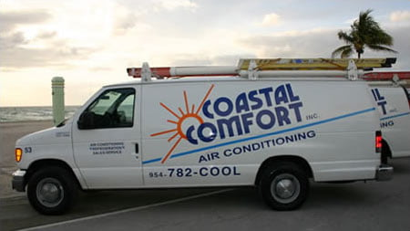 Coastal Comfort AC van at South Florida Beach